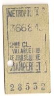 ANCIEN TICKET DE METRO PARIS CHAMPERRET  C339 - Subway