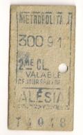ANCIEN TICKET DE METRO PARIS ALESIA   C339 - Subway