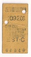 ANCIEN TICKET DE METRO PARIS EST C      C340 - Subway