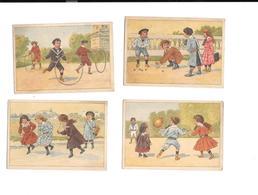11621 - Lot De 4 Chromos Non Publicitaires : JEUX D' ENFANTS, Corde Sauter, Billes, Cerceau,ballon - Chromos
