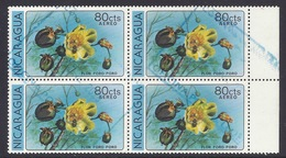 Nicaragua - 1979 Flowers, Flor Poro-poro, Airmail - (Block Of 4) Used - Nicaragua