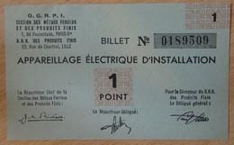 Billet Matière - Appareillage Electrique D'Installation OCRPI 1 Point 31 III 1945 - Notgeld
