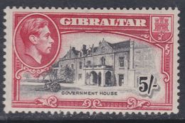 Gibraltar N° 112 X Partie De Série : 5 S. Rouge Carminé Et Noir Trace De Charnière, TB - Gibraltar