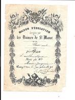 KB1680 - BULLETIN DE PRIX - MAISON D'EDUCATION DES DAMES DE SAINT MAUR - WASSY - 1896 MARIE JACQMAIN - Diploma & School Reports