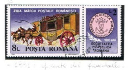 ROMANIA - SG 5406  - 1991 STAMP  DAY: COACH (WITH LABEL)  - USED ° -    RIF. CP - Used Stamps