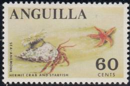 Anguilla 1967-68 MNH Sc #28 60c Sea Anemone, Hermit Crab, Starfish - Anguilla (1968-...)