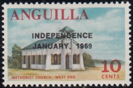 Anguilla 1969 MNH Sc #59 Overprint On 10c Methodist Church Variety - Anguilla (1968-...)