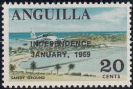 Anguilla 1969 MNH Sc #61 Overprint On 20c Sandy Ground Variety - Anguilla (1968-...)
