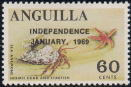 Anguilla 1969 MNH Sc #64 Overprint On 60c Sea Anemone, Crab, Starfish Variety - Anguilla (1968-...)