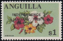 Anguilla 1969 MNH Sc #65 Overprint On $1 Hibiscus Variety - Anguilla (1968-...)