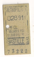 ANCIEN TICKET DE METRO PARIS  BASTILLE C      C341 - Subway