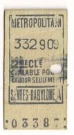 ANCIEN TICKET DE METRO PARIS SEVRES BABYLONE A   C341 - Subway