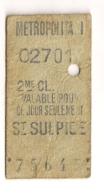 ANCIEN TICKET DE METRO PARIS  ST SULPICE  C341 - Subway