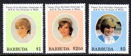 BARBUDA - 1982 DIANA BIRTHDAY 1st ISSUE SET (3V) FINE MNH ** SG 624-626 - Antigua And Barbuda (1981-...)