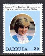 BARBUDA - 1982 DIANA BIRTHDAY 1st ISSUE $5 STAMP FINE MNH ** SG 626 - Antigua And Barbuda (1981-...)