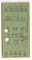 ANCIEN TICKET DE METRO PARIS EST  C342 - Subway