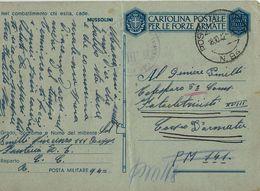 FRANCHIGIA WWII POSTA MILITARE 94 1942 CUNEO X P.M. 141 Poi P.M. 118 DALMAZIA - 1900-44 Vittorio Emanuele III