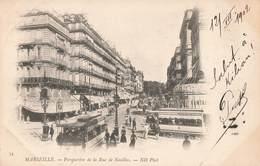 13 Marseille Perspective De La Rue De Noailles Tram Tramway Cachet 1902 - Canebière, Centre Ville