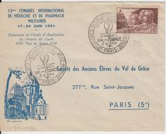 ECOLE DU VAL DE GRACE PARIS N1ER JOUR N° 898 MEDECINE MILIUTAIRE 17 JUIN 1951 COTE YVERT 2007 = 60 EUROS - Postmark Collection (Covers)