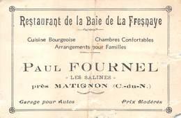 20-7951 : CARTE DE VISITE. HOTEL RESTAURANT DE LA BAIE DE LA FRESNAYE. P. FOURNEL LES SALINES PRES MATIGNON. - France