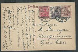 Sarre. Entier Postal , Postal Stationnery Pour Sarreguemines - 1920-35 Société Des Nations