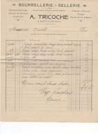 594 FACTURE A. TRICOCHE SELLERIE BOURELLERIE Harnais Selles Brides Cirage    St CLAR  32 GERS - Agriculture