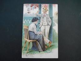 Couple - Femme Assise Sur Une Chaise Et Homme Avec Une Cigarette Debout Appuyé Sur Balustrade - Gaufrée - Série 3793 - Couples