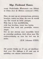 Mgr. Ferdinand Hamer, Bedankprentje Opleiding Missionarissen - Religione & Esoterismo