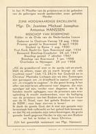 Mgr. Dr. Joannes Michael Josephus Antonius Hanssen, Bisschop Van Roermond, 1906-1958 - Religione & Esoterismo