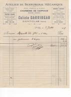589 FACTURE  Calixte DARRIBEAU Fers, Fontes Aciers, Serrurerie Mécanique Machines Agricoles St CLAR  32 GERS - France