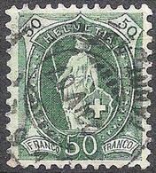 Schweiz Suisse 1905: 13 Vertikalzähne WZ I  Zu 90A Mi 78C Yv 97 - 50c Grün  Mit Voll-o BASEL 23.IV.07 (Zu CHF 12.00) - 1882-1906 Armoiries, Helvetia Debout & UPU