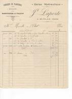 582 FACTURE LAPORTE Fabrique De Planchers, Sciage, Rabotage, Bois Usine Hydraulique Saint CLAR  GERS 32 - France