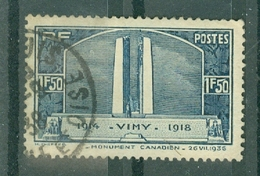 FRANCE - N° 317 Oblitéré - Inauguration Du Monument De Vimy à La Mémoire Des Canadiens Tombés à La Guerre 1914-18. - Francia