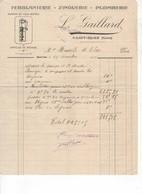 581 FACTURE GAILLARD Plomberie, Zinguerie, Ferblanterie, Articles De Ménage Pompes  Saint CLAR  GERS 32 - France