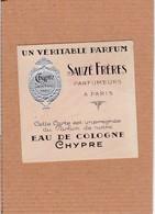 Carte Parfumée Sauzé Frères Eau De Cologne Chypre Maison Doual Angers - Anciennes (jusque 1960)