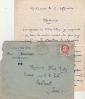 Yvert 517 Pétain Seul Sur Lettre Entête Nouviale Boulangerie MONTRICOUX Tarn Et Garonne 18/9/1942 à Réalmont Tarn - Marcophilie (Lettres)