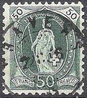 Schweiz Suisse 1905: 13 Vertikalzähne WZ I Zu 90A Mi 78C Yv 97 - 50c Grün Mit Voll-o TRAVERS 22.II.06 Zu CHF 12.00) - 1882-1906 Armoiries, Helvetia Debout & UPU