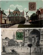 Mons 1920 - 2 Cartes église Ste Waudru - Timbre Olympiade Anvers - édit. Thill & Guggenheim - Mons