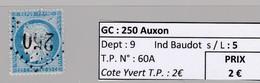 GC 250 Auxon ( Dept 9 ) S / N° 60A - Marcophily (detached Stamps)