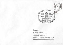 Allemagne - Flamme - Chateau D'eau - Gare - Train - 28 10 1989 - Merchweiler - 40 Ans - Timbre Thérèse Giehse - - Andere