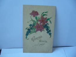 HEUREUSE ANNÉE THÈME FLEURS CPA EN RELIEF 1907 - Blumen