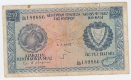 CYPRUS 250 Mills 1975 VG Banknote Pick 41c - Chypre