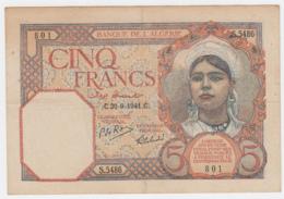 Algeria 5 Francs 1941 VF+ CRISP Banknote Pick 77b 77 B - Algerije