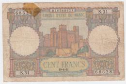 """Morocco 100 Francs 19-4- 1951 """"aF"""" Banknote Pick 45 - Marokko"""