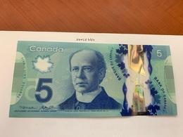 Canada 5 Five Dollar Uncirc. Polymer Banknote 2013 #1 - Canada