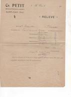 567 FACTURE RELEVÉ DE VETERINAIRE PETIT  2 Avril 1925 Saint CLAR GERS 32 - Autres