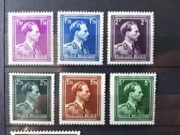 Timbre Belgique : Roi Léopolde III COB N° 641 à 646 1943 NEUF*   & - Belgique