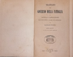 Libro 1875 Trattato Governo Famiglia A. Pandolfini Annotazioni Di B. Puoti (521) - Books, Magazines, Comics