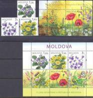 2009. Moldova, Wild Flowers, 3v + 2 S/s, Mint/** - Moldova