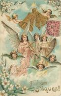 JOYEUSES PÂQUES - Anges Musiciens Et Cloches.(carte Gaufrée) - Engelen